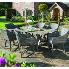 Kettler LaMode - 6 Seat Dining Set with Aluminium Wood Effect Dining Table