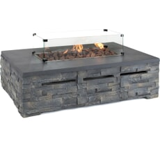 Kettler Kalos Stone Fire Pit - Coffee Table 132 x 85cm with Glass Surround and Regulator