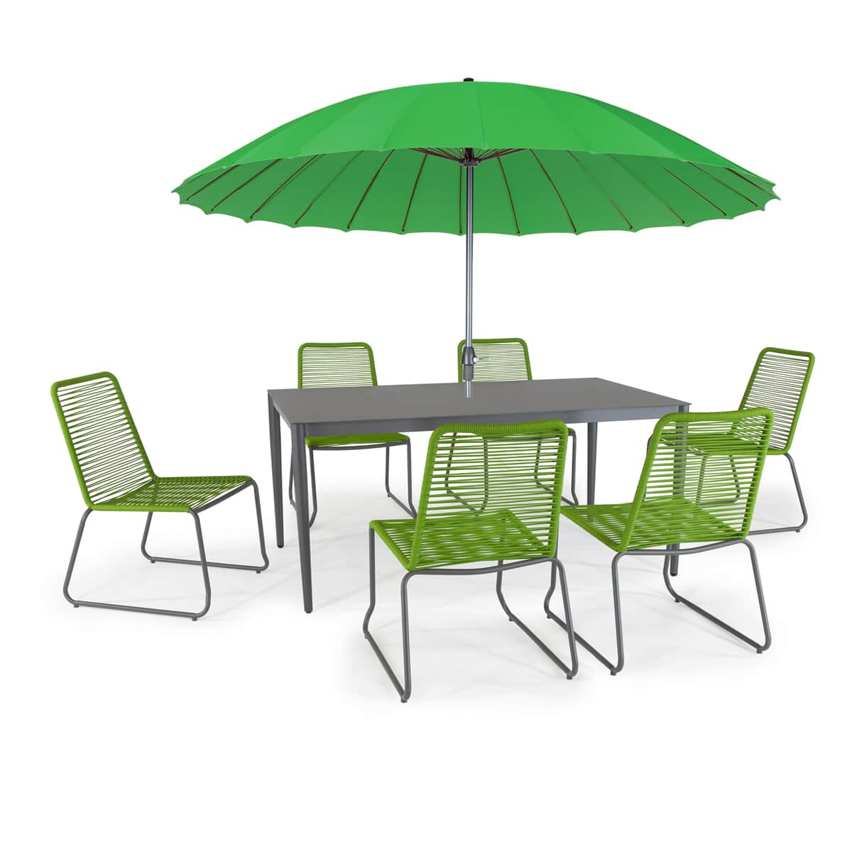 Kettler Paros 8 Seater Garden Dining Table And Chairs Set Grey: Kettler Menos Metro 6 Seat Dining Set With Parasol Green
