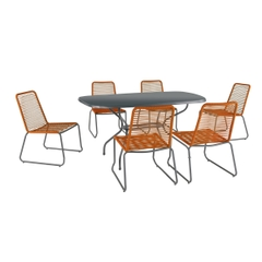 Kettler Menos Metro Orange 6 Seat Dining Set with Kettalux Solid Top Table