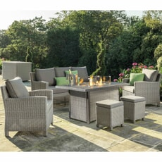 Kettler Palma 3 Seat Dining Sofa Set with Aluminium Firepit Table Whitewash