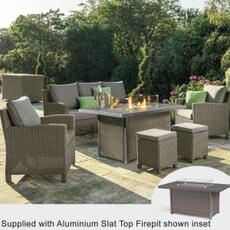Kettler Palma 3 Seat Dining Sofa Set with Aluminium Fire Pit Table Rattan