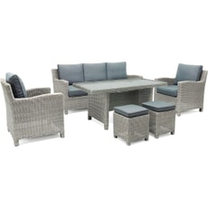Kettler Palma Casual Dining Sofa Set - White Wash with Glass Top Table