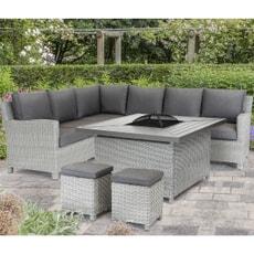 Kettler Palma Corner Set (RH) White Wash - Square Charcoal Fire Pit Table