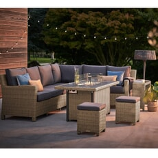 Kettler Palma Corner Set (LH) With Aluminium Gas Firepit Table Rattan