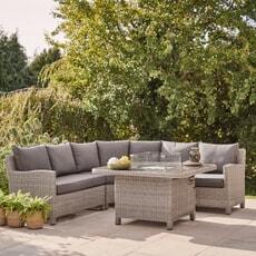 Kettler Palma Grande Corner Sofa Set with Fire Pit Table Whitewash