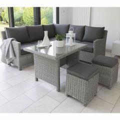 Kettler Palma Mini Corner Set White Wash (Glass Top Table)
