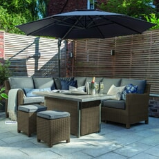 Kettler Palma Corner Set (RH) Rattan - Rectangular Gas Fire  Pit Table