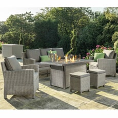 Kettler Palma Casual Dining Sofa Set - White Wash with Firepit Table