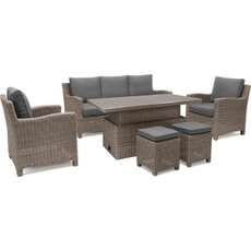 Kettler Palma Casual Dining Sofa Set - Rattan with S-Q Height Adjustable Table