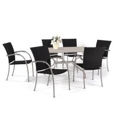Royal Garden Salernos Black Weave 6 Seat Set