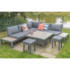 LG Outdoor Milano Modular Dining Set with Oversized Footstools