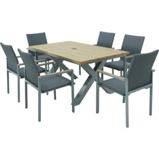 LG Outdoor Siena 6 Seat Dining Set with Stacking Textile Sling Chairs