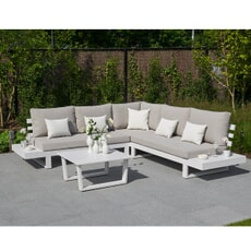 Life Ibiza Lounge Set White with Mouse Grey cushions