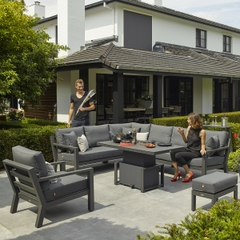 Life Timber Corner Set Lava with Carbon cushions
