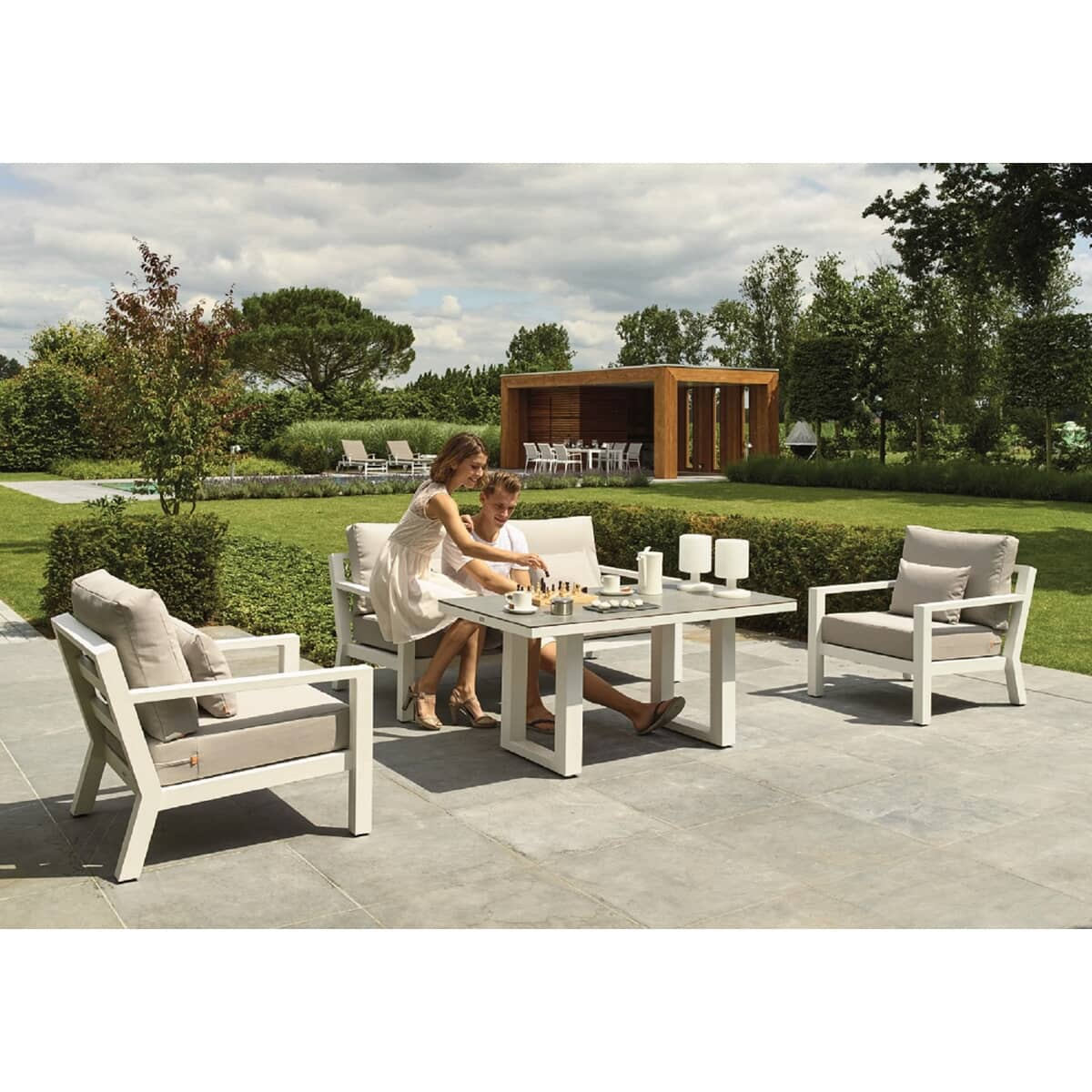 Life timber lounge set white with mouse grey cushions