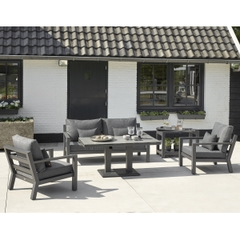 Life Timber Lounge Set Lava with Carbon cushions