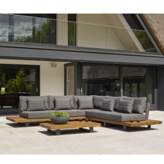 Life Fitz Roy Corner Set Lava Aluminium Frame with Carbon Cushions and Teak Table