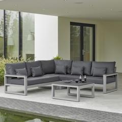 Life Mallorca Corner Set with Arms Matt Grey Aluminium with Carbon Soft Touch Cushion