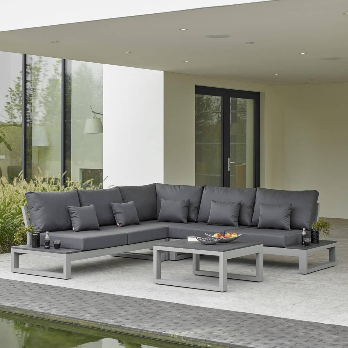 Life Mallorca Open Corner Set Matt Grey Aluminium With Soft Touch Carbon Cushions Limallorcor2020 Garden Furniture World
