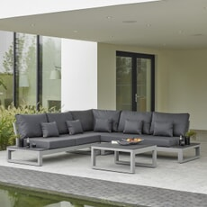 Life Mallorca Corner Set with Side Tables Matt Grey Aluminium with Soft Touch Carbon Cushions