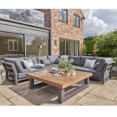 Life Nevada Large Corner Set Lava Aluminium with Carbon Soft Touch Cushions and Teak Table