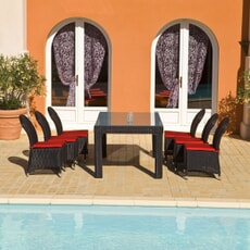 Monte Carlo 6 Seat Rect Dining Black/Taupe (2.5mm)