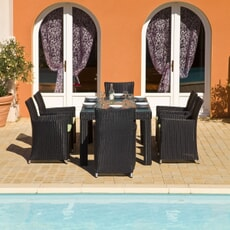 Monte Carlo 6 Seat Rect Square Chair Black (2.5mm)