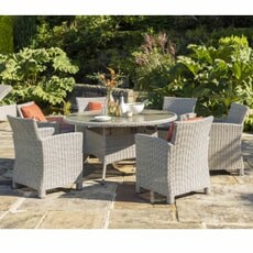 Kettler Palma Dining Set - Whitewash 6 Seater
