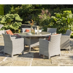 Kettler Palma 6 Seater Casual Dining Round Set with Lazy Susan White Wash  New 2020