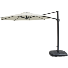 Kettler 3.0m Round Free Arm Parasol - Grey Frame/Natural Canopy