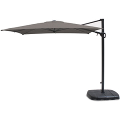 Kettler 2.5m Square Free Arm Parasol - Grey Frame/Grey Taupe Canopy with Base
