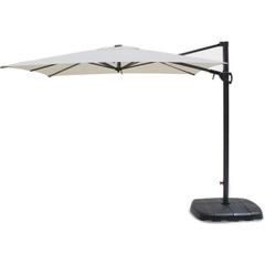 Kettler 2.5m Square Free Arm Parasol - Grey Frame/Natural Canopy with Base