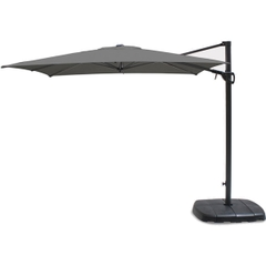 Kettler 2.5m Square Free Arm Parasol - Grey Frame/Slate Canopy with Base