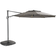 Kettler Parasol 3.3m Free Arm Grey Frame/Taupe Canopy with LED Lights and Bluetooth Speaker