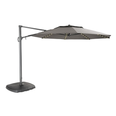 Kettler 3.3m Free Arm Parasol Grey/Taupe (LED Lights)