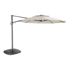 Kettler 3.3m Free Arm Parasol Grey Frame/Natural Canopy with LED Lights and Bluetooth Speaker