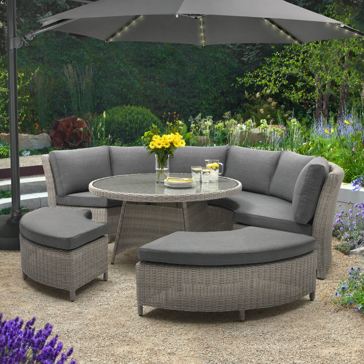 Kettler 3 5m Free Arm Parasol With Led Lights Bluetooth Speaker Pl35 183c Bt Garden Furniture World