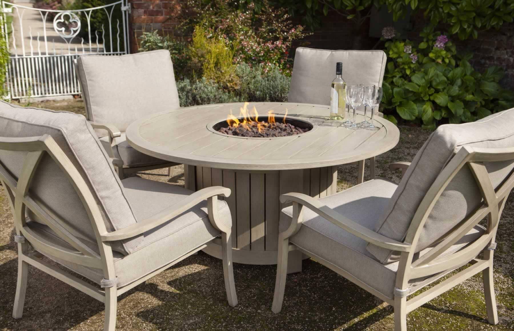 Image of: Hartman Portland Lounge Gas Firepit Set Light Oak Porset01 Garden Furniture World