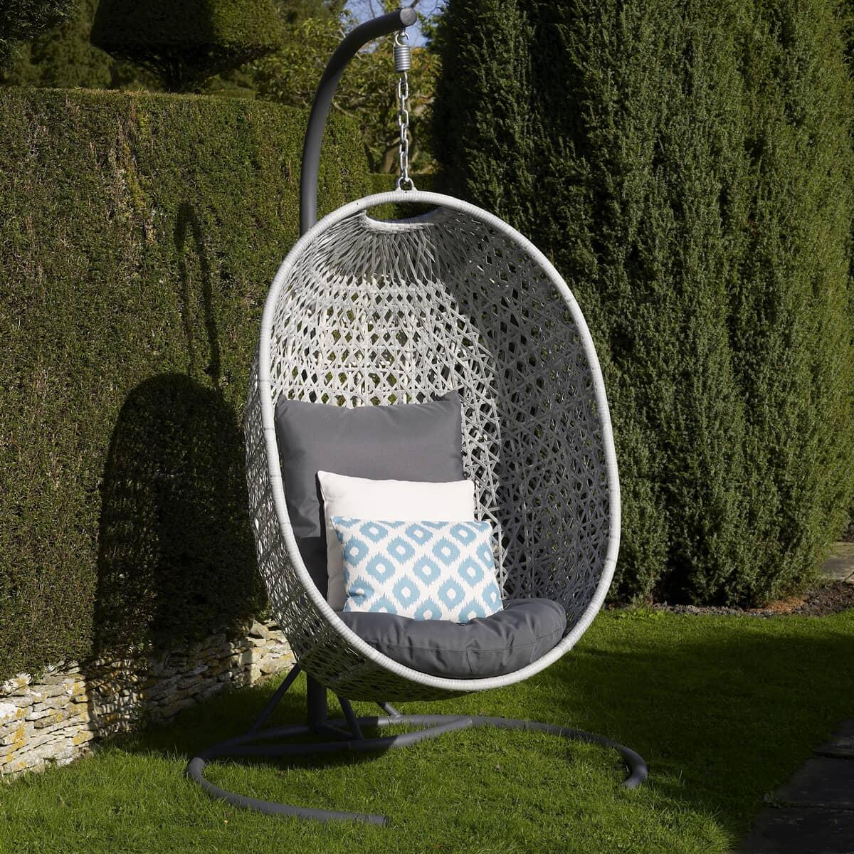 Bramblecrest Monterey Single Hanging Cocoon Including Season Proof New Charcoal Cushions Rmhc1c Garden Furniture World