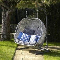 Bramblecrest Monterey Double Hanging Cocoon including Season-Proof  New Charcoal Cushions