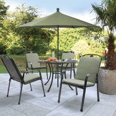 Kettler Siena 4 Seat Promo Set With Sage Cushions and Parasol