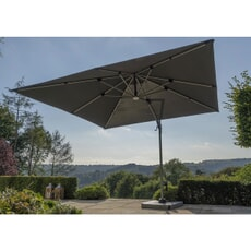 Bramblecrest Truro 3.0 x 3.0m Square Side Post Parasol with LED including Grey Protective Cover - Grey