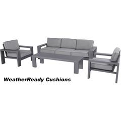 Hartman Titan 3 Seat Lounge Set Weatherready Cushions Seal/Pewter