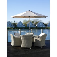 Bramblecrest Monte Carlo 140cm Round Table  with 60cm Lazy Susan 6  Armchairs Parasol and Base