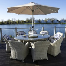 Bramblecrest Monte Carlo 220 x 145cm Elliptical Table with 60cm Lazy Susan, 8 Armchairs, Parasol and Base