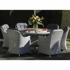 Bramblecrest Monterey 140cm Round Table, 60cm Lazy Susan, and 6 Armchairs (No  Parasol)