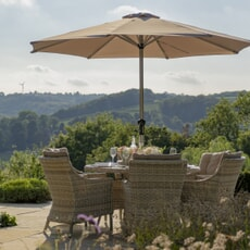 Bramblecrest Ascot 140cm Table with 6 Armchairs with Lazy Susan and Parasol