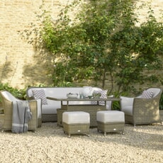 Bramblecrest Monte Carlo 3 Seat Sofa with Adjustable Rectangle Casual Dining Table 2 Sofa Armchairs and 2 Stools