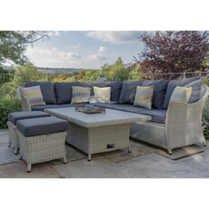 Bramblecrest Monterey 2019 Modular Sofa with Ceramic Top Adj Rectangle Casual Dining Table, 2 Stools